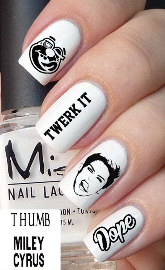 50 pc Miley Cyrus nail decal set by DesignerNails on Etsy, $4.00 I ...
