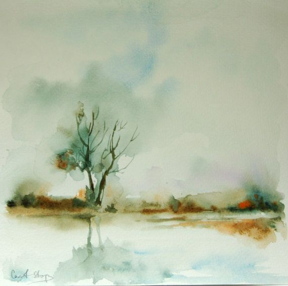 Landscape Original Watercolor Painting Trees Lake By Canotstop