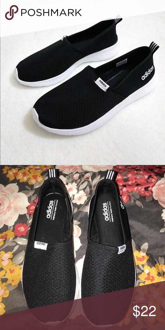 Adidas memory foam slip-ons Black