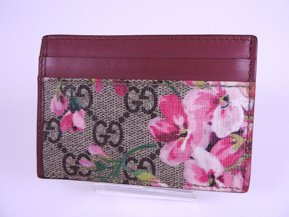 e4a4d22ef2599 Auth GUCCI GG Blooms Supreme Card Case Holder PVC Leather Beige Pink 410091  7684 #Gucci