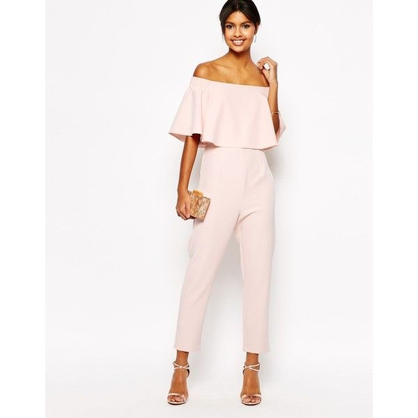 ASOS Jumpsuit with Ruffle Bardot ($73) ❤ liked on Polyvore featuring jumpsuits, pink, off the shoulder jumpsuit, jump suit, asos, asos jumpsuit and off shoulder jumpsuit