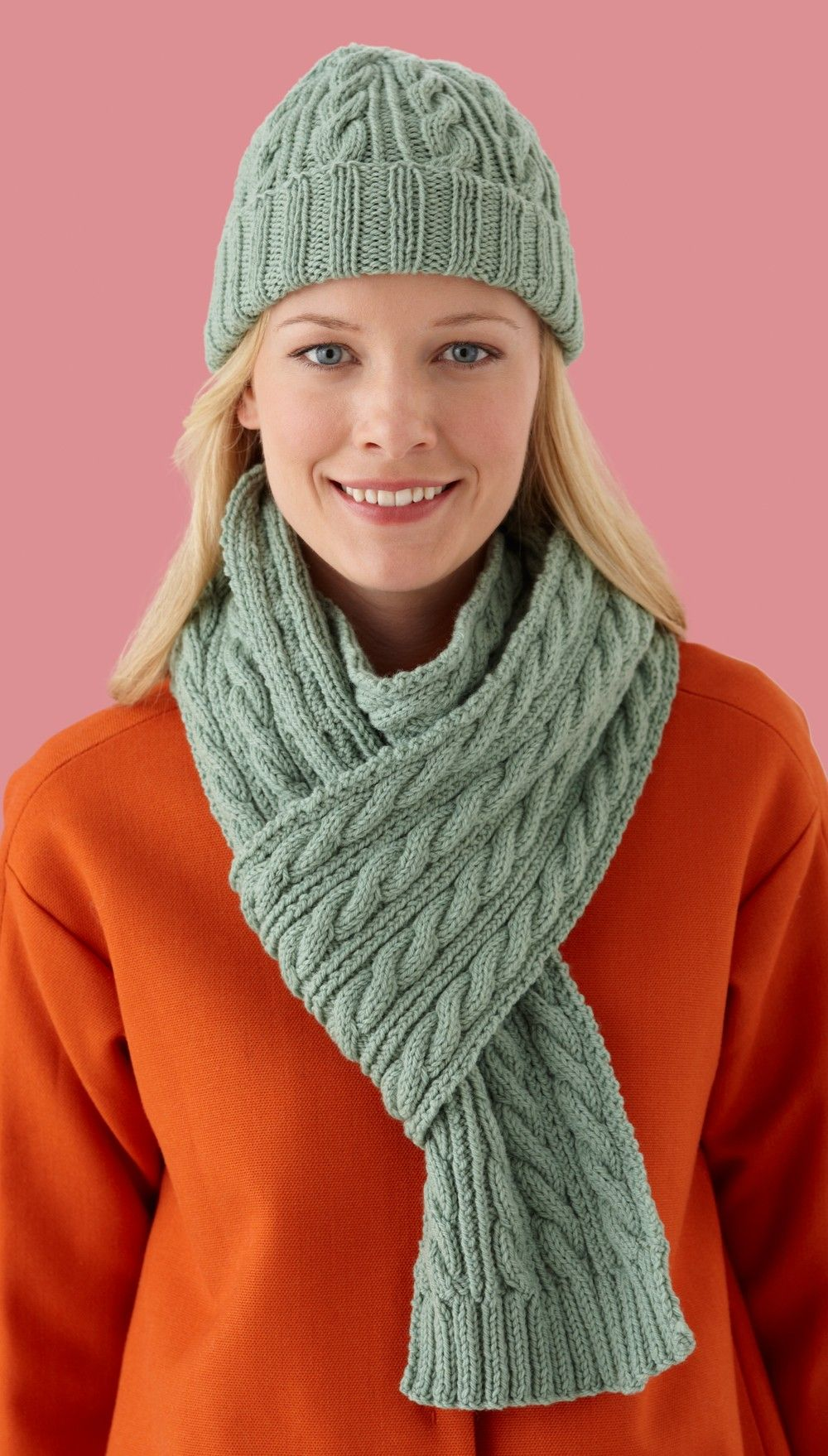 Cable Twist Hat and Scarf Set Pattern (Knit) Cabled hat