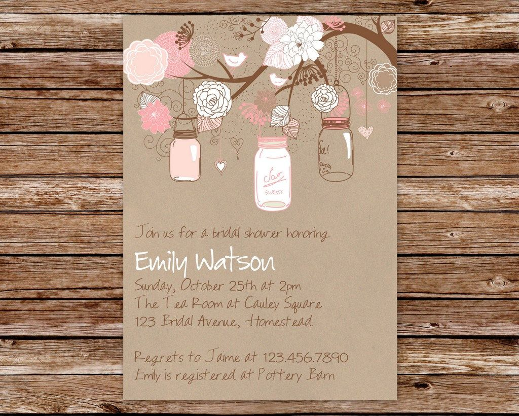 Mason Jar Invitation Bridal Shower Baby Shower Mason Jar - Free mason jar wedding invitation templates