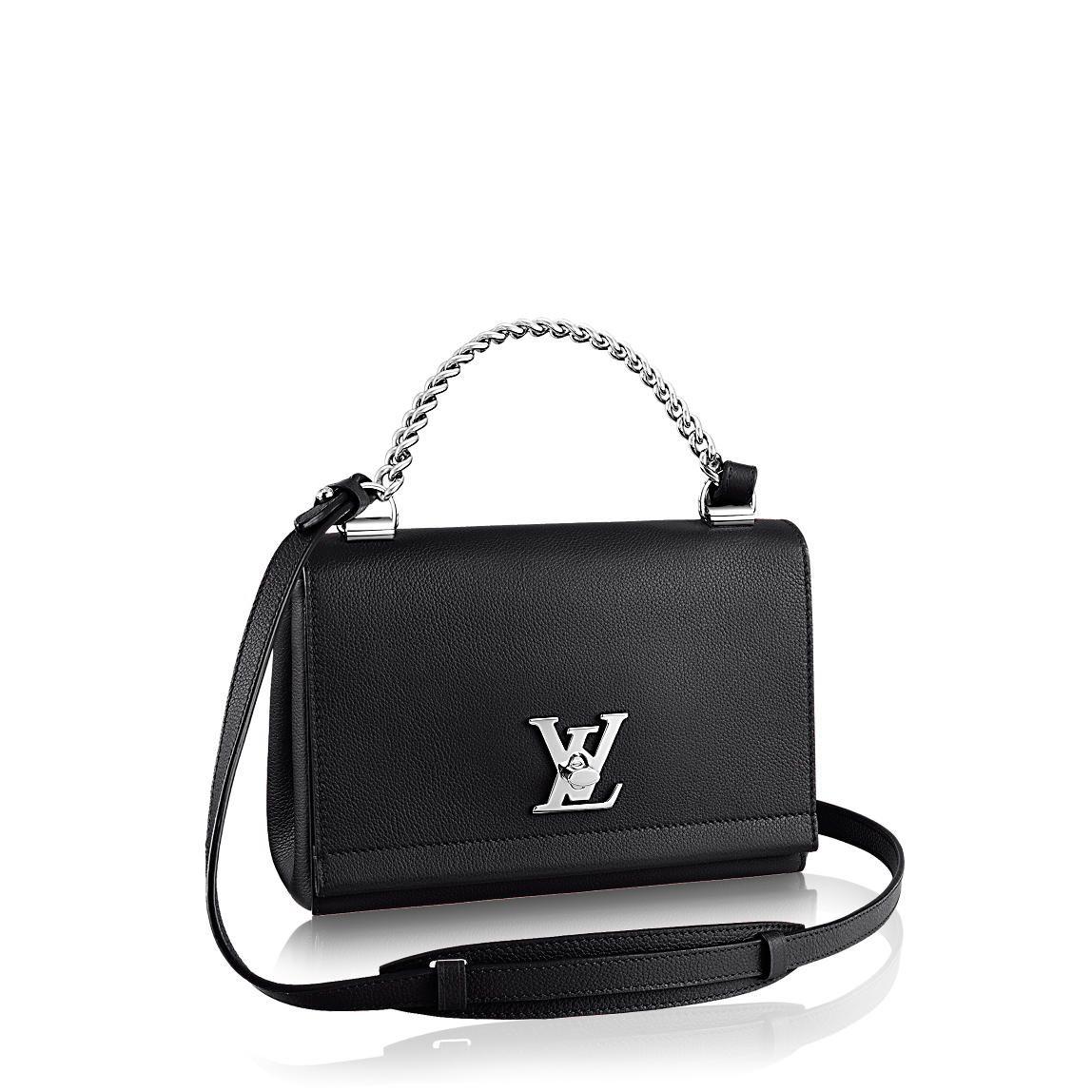 4b8b0b2b92bb Louis Vuitton Lockme II BB black and silver chain handle mini bag ...