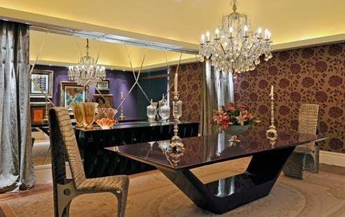 Mesa de jantar base v em resina preta, tampo com chanfro ...