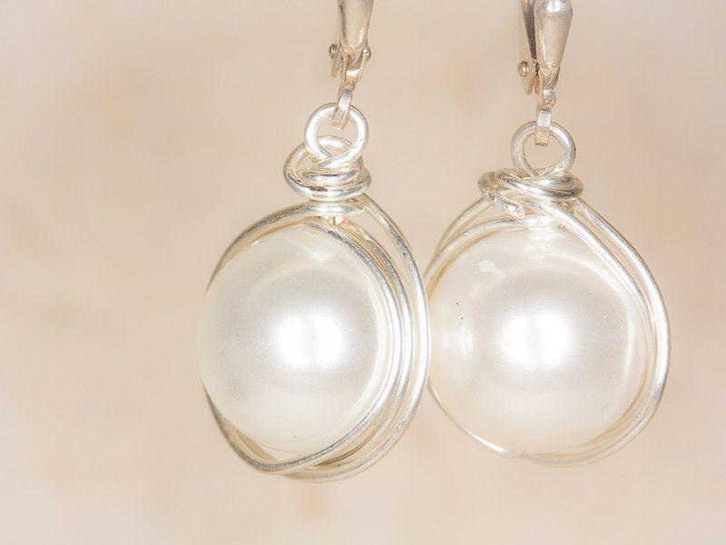 Perlen Ohrringe groß von Silber & Stein auf DaWanda.com | Schmuck ...