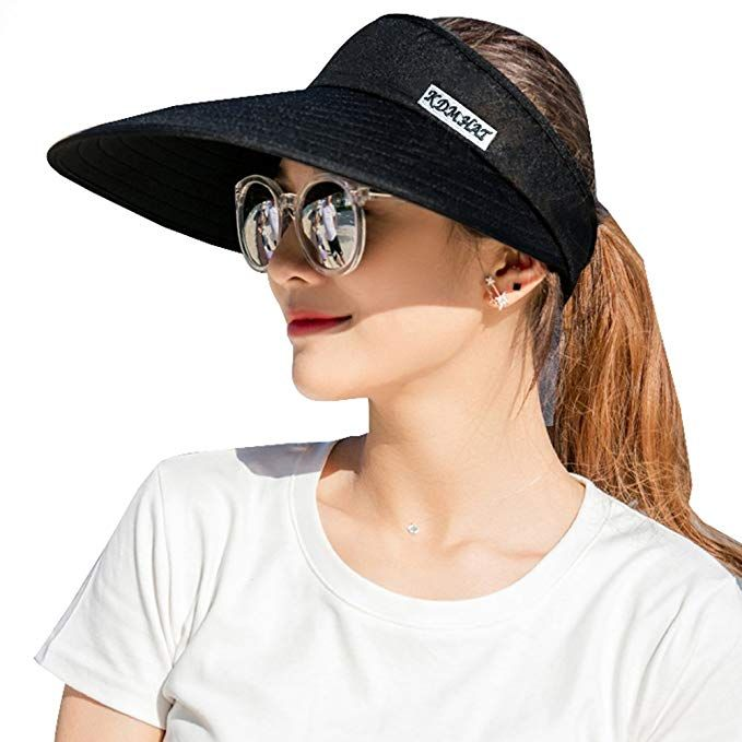 Sun Visor Hats Women 5.5   Large Brim Summer UV Protection Beach Cap ... 6338b1b47d12