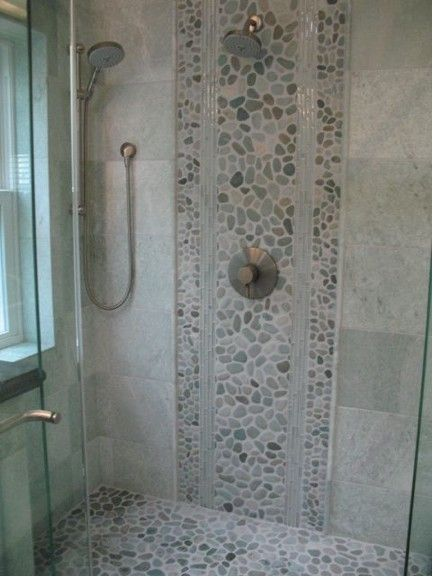 Wood Tile Shower Walls With River Rock Floor In Finished Basement