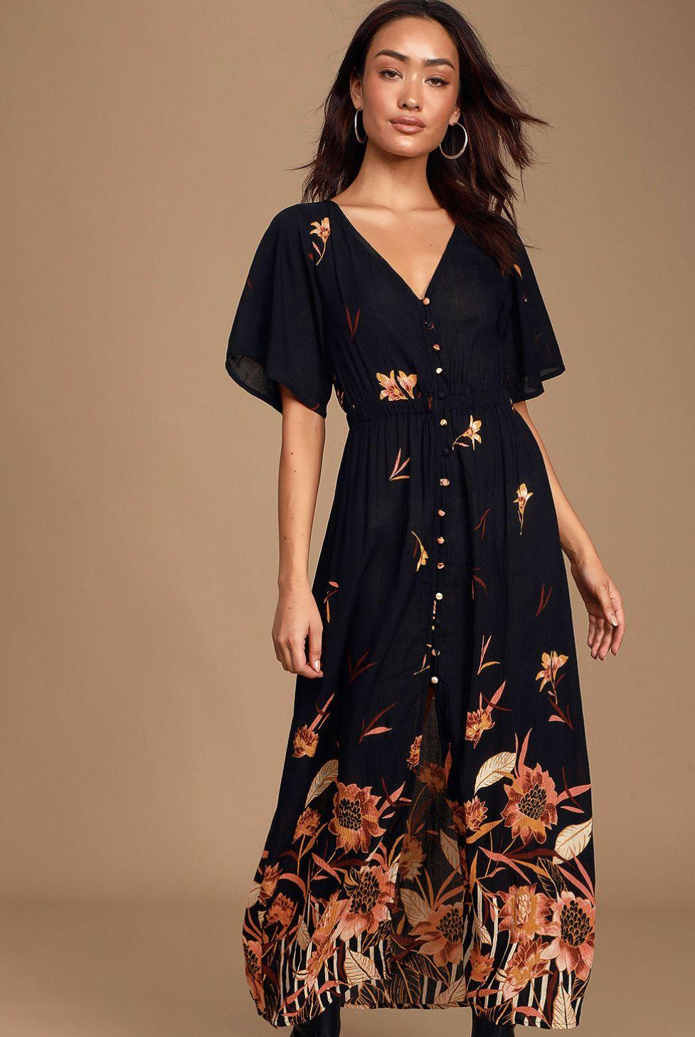 Autumn Breeze Black Floral Print Button Up Maxi Dress in
