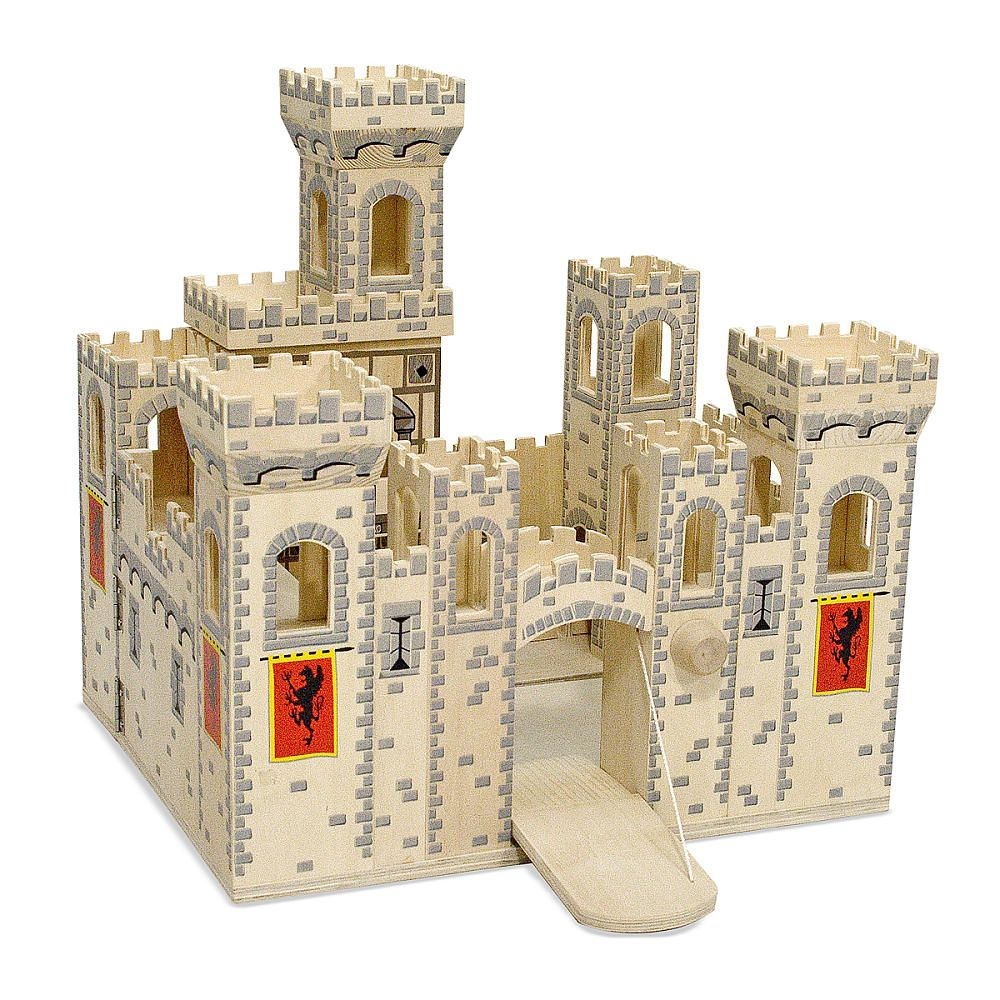 Melissa Doug Deluxe Wooden Folding Medieval Castle Wooden