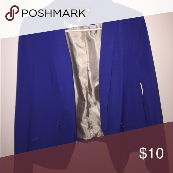 Forever 21 Blue Blazer Size M Blue Blazer lined with Gorgeous Zippers. EUC! Recently dry cleaned! Pair with jeans, heels and a cute clutch for a chic look!!! Forever 21 Jackets & Coats Blazers