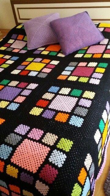 Colchas de ganchillo de lana de colores para cama - Colchas de ganchillo modernas ...