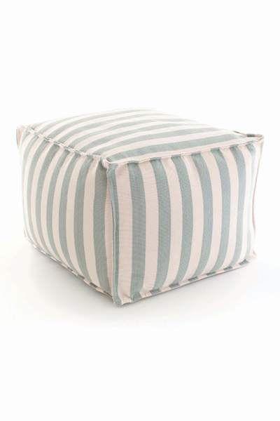 #DashAndAlbert Fresh American Trimaran Stripe Light Blue/Ivory Indoor/Outdoor Pouf