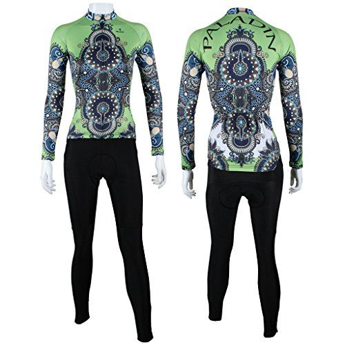 Paladinsport Womens Green Polyester Long Sleeve Cycling Jerseys And Pants Set Size XL -- Continue to the product at the image link.