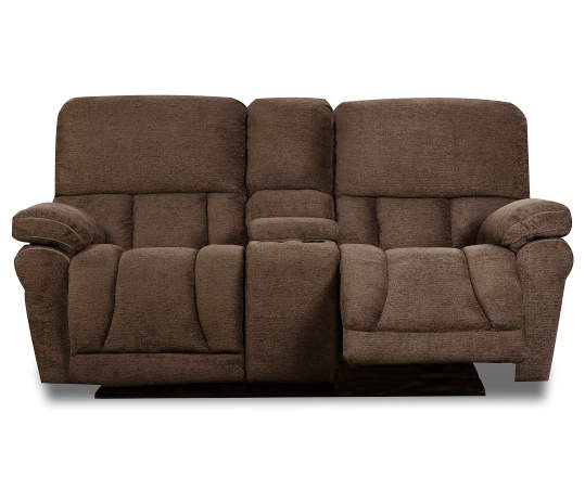 Best Stonehill Chocolate Brown Motion Console Loveseat Love 400 x 300