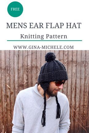 Mens Ear Flap Hat knitting pattern | Mens hat knitting ...