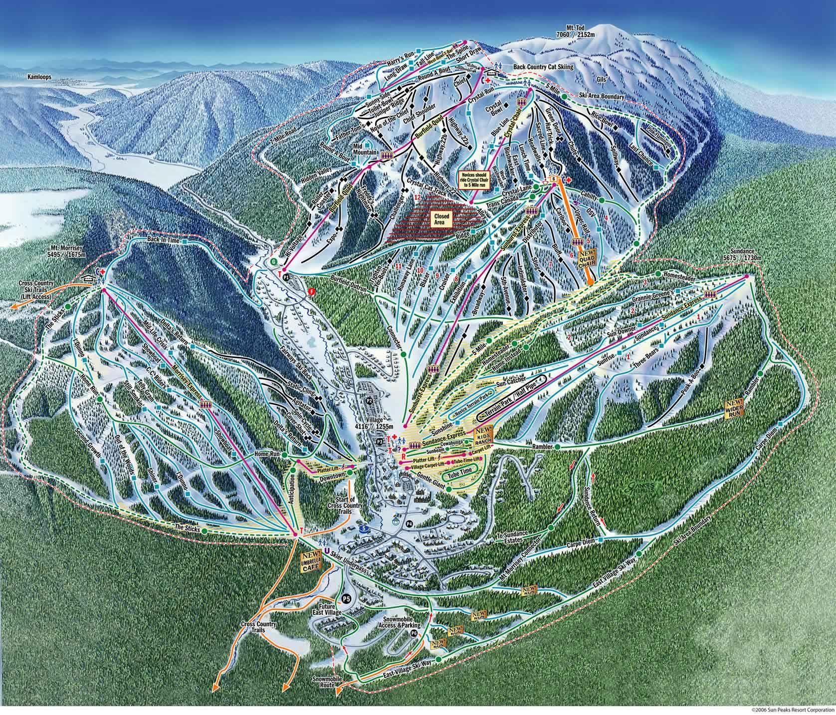 Sun Peaks Ski Resort Map  Canada  Pinterest  Resorts Ski