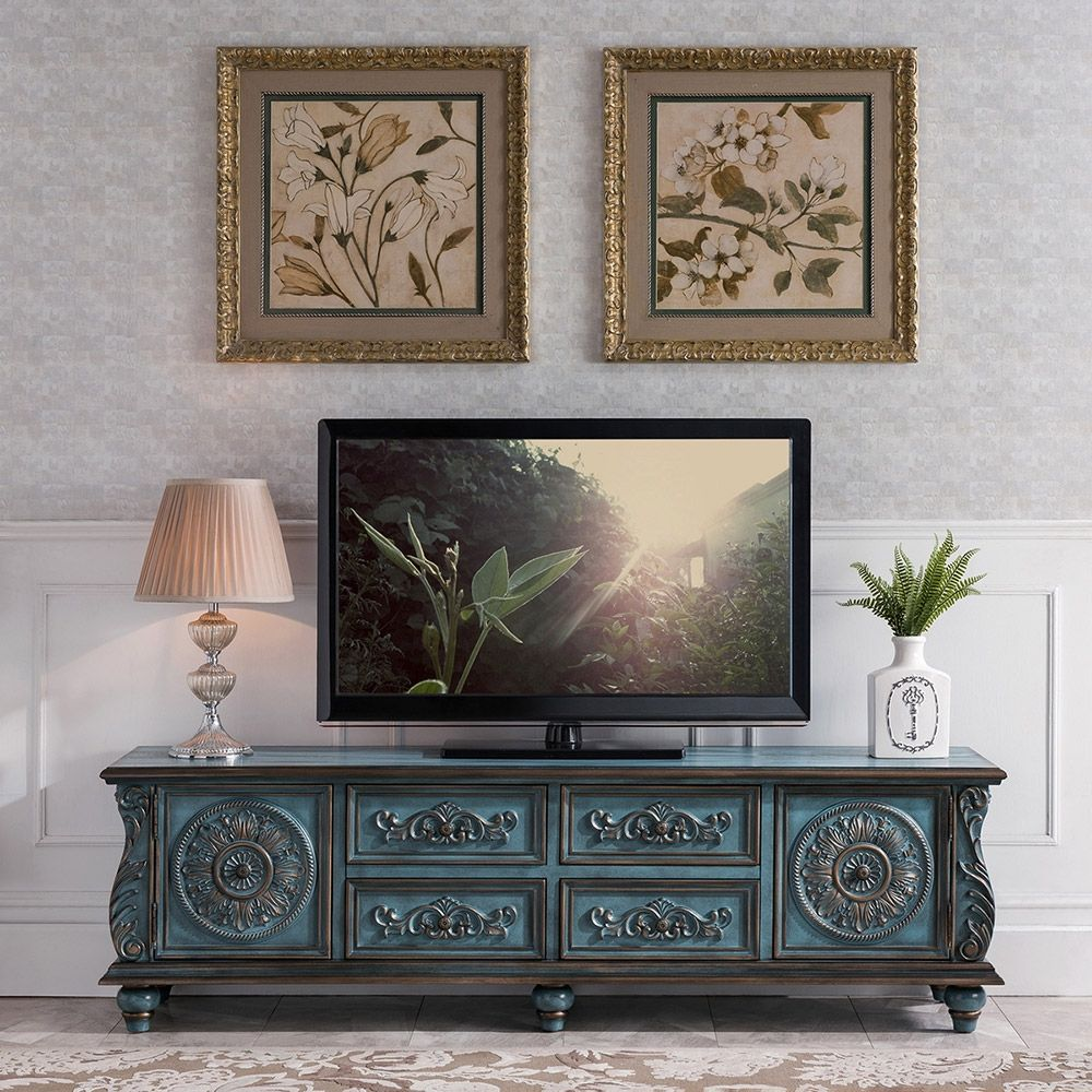 Vintage 70 Tv Stand Distressed Carved Tv Console With Drawers Antique Blue Tv Stand Decor Living Room Tv Stand Decor Antique Living Rooms