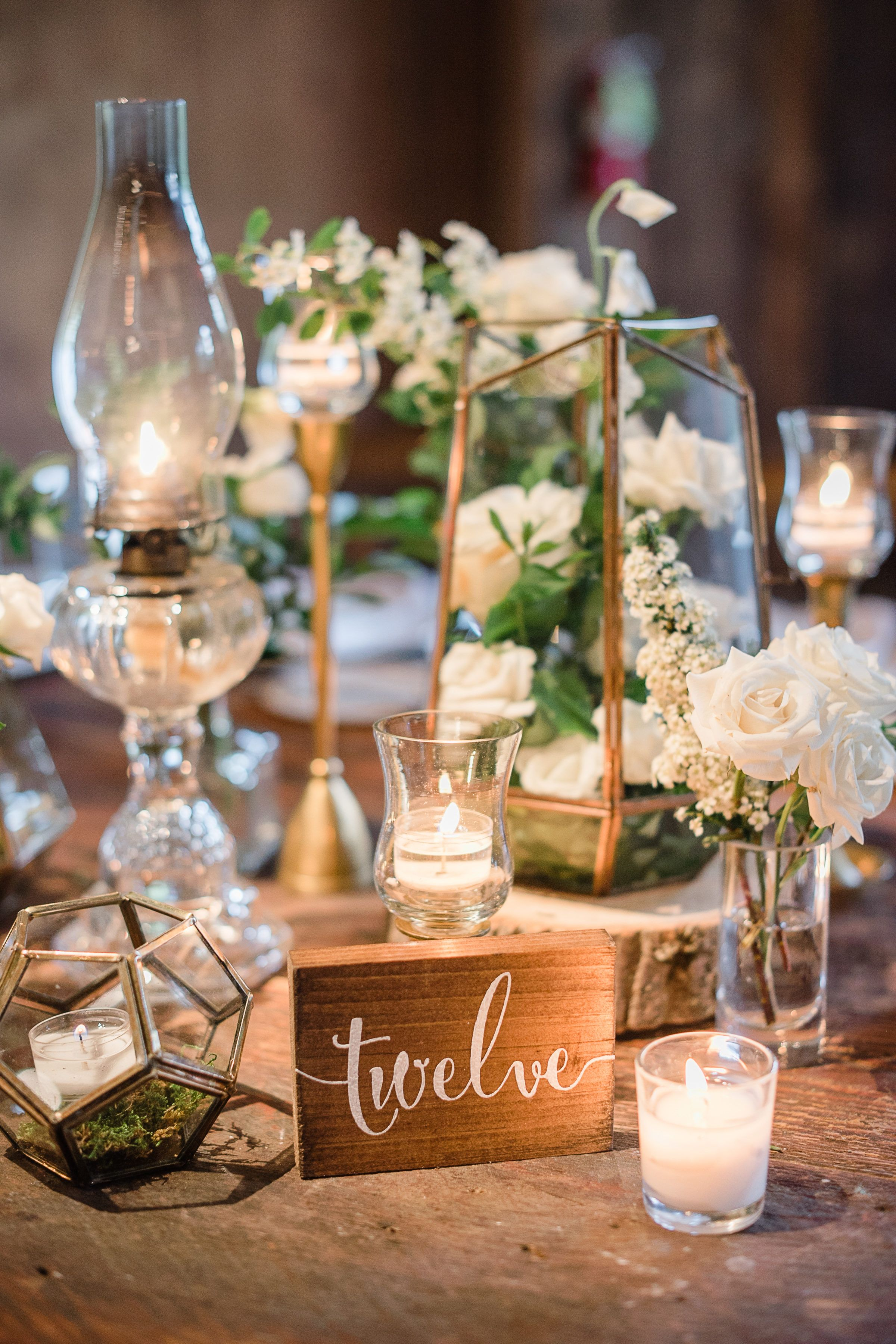 Camp Is Turned Gorgeous With This Cedar Lakes Estate Wedding Cheap Wedding Table Centerpieces Terrarium Wedding Centerpiece Camping Wedding Theme