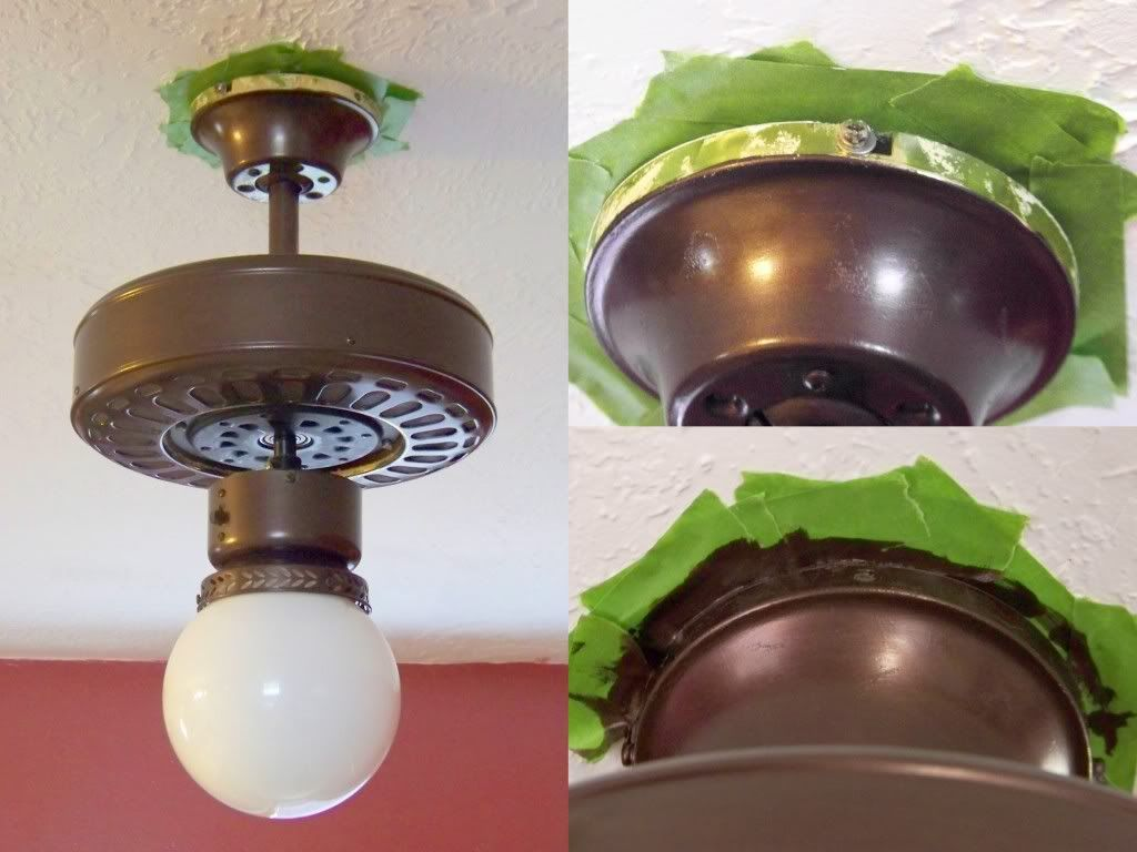 Refinishing an ugly old brass ceiling fan to a rubbed bronze look painting fan base without removing from ceiling sophisticated finishes paint brass parts aloadofball Images