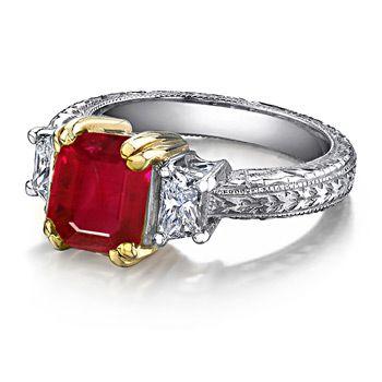 Angara Emerald-Cut Ruby and Diamond Three Stone Ring in Platinum IKM4Z