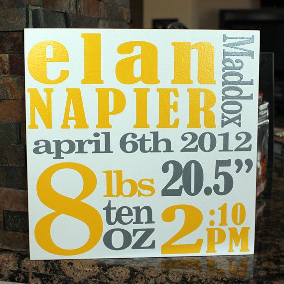 Gender Neutral Baby Gift, Name Art, Baby Nursery Decor, Personalized ...