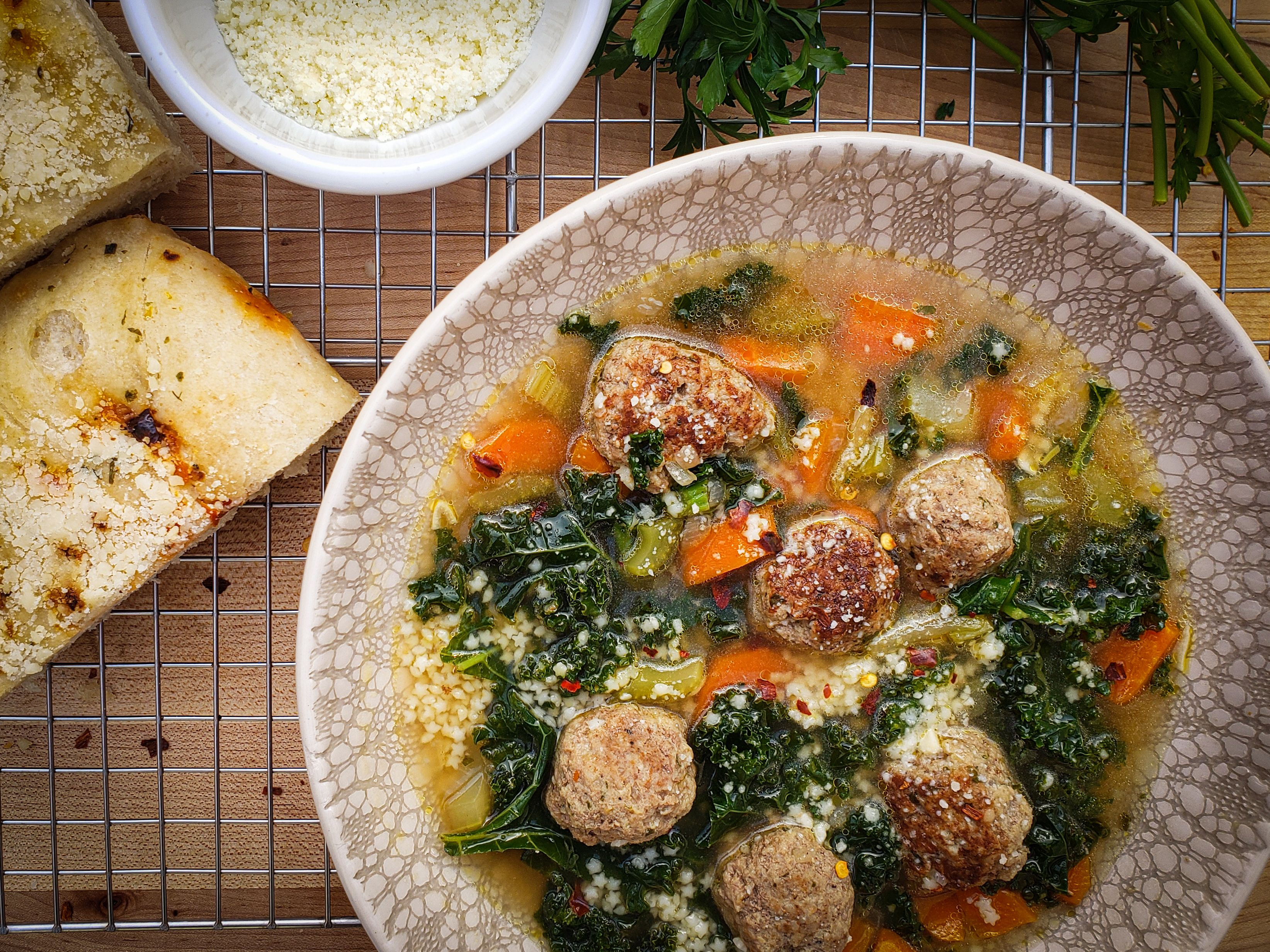 Italian Wedding Soup Onepot dinner Salt Sugar Spice