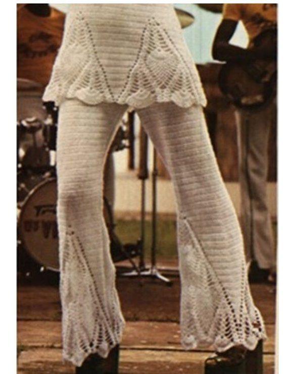 Crochet Pants Pattern Vintage 70s Crochet Pineapple Pants
