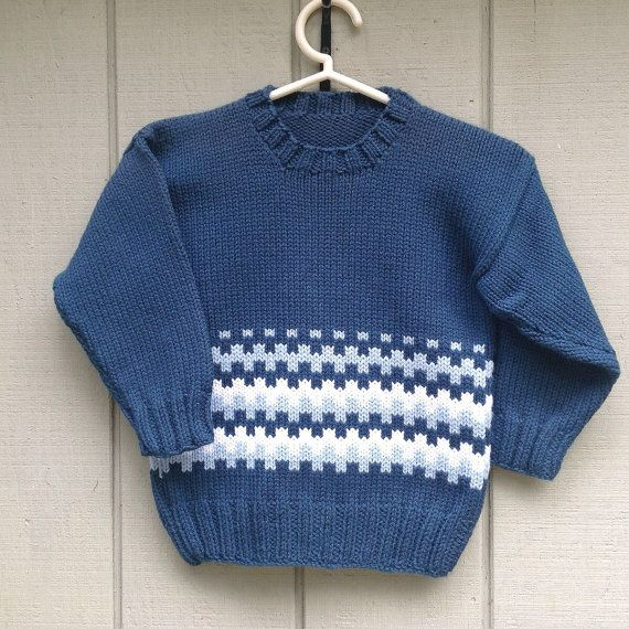 Boys knitted Fair Isle sweater Toddler navy by ...
