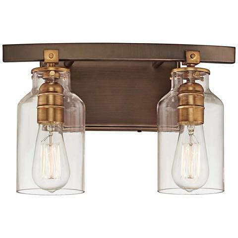 Morrow 9 1 4 High Bronze And Gold 2 Light Wall Sconce 32r76 Lamps Plus Minka Lavery Wall Sconce Lighting Vanity Lighting