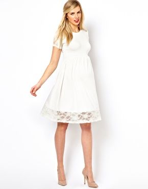 00e547a1208 Image 4 of ASOS Maternity Exclusive Skater Dress With Lace Insert BABY  SHOWER