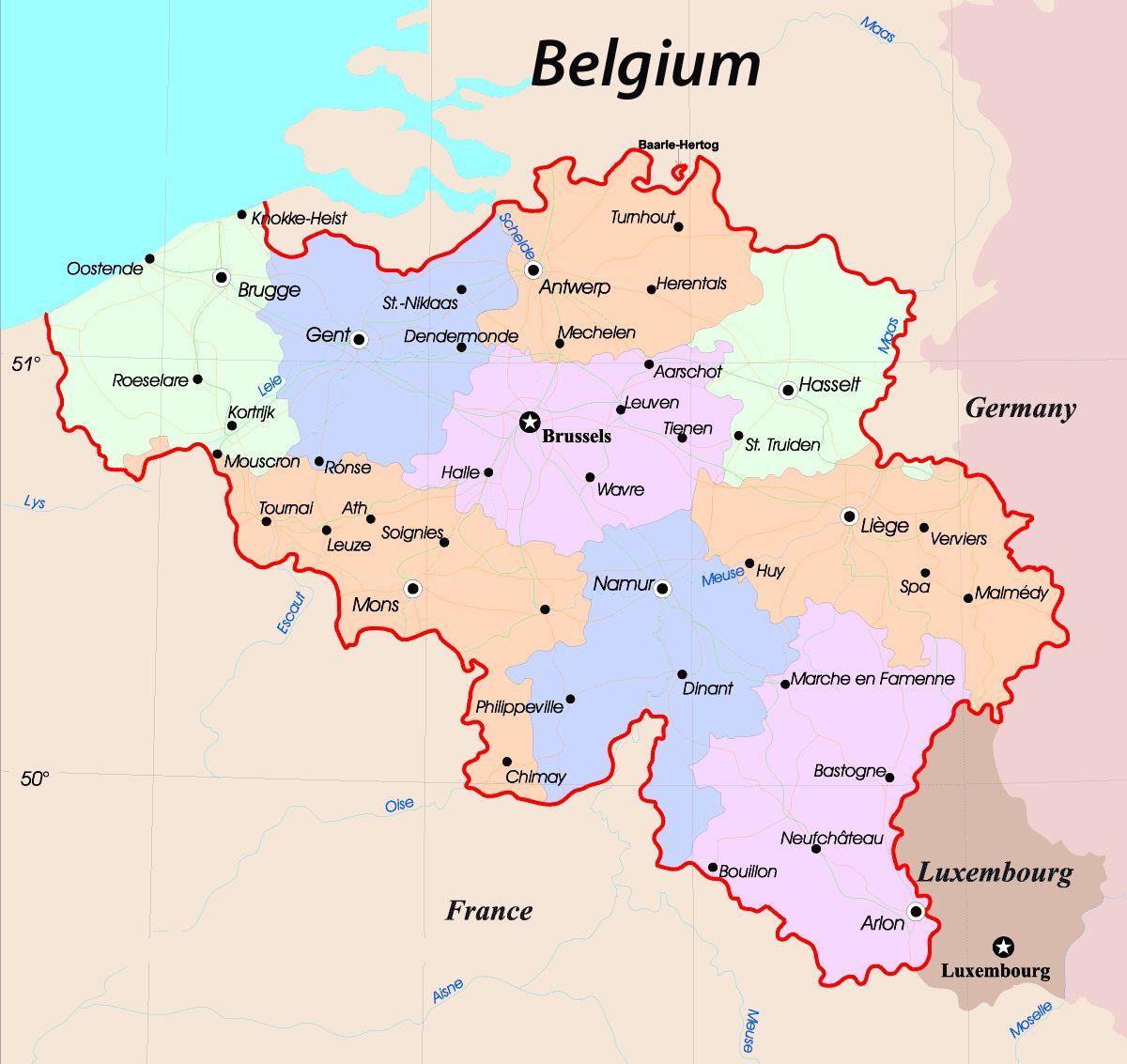 Map Of Belgium Belgien Karte Belgien Landkarte