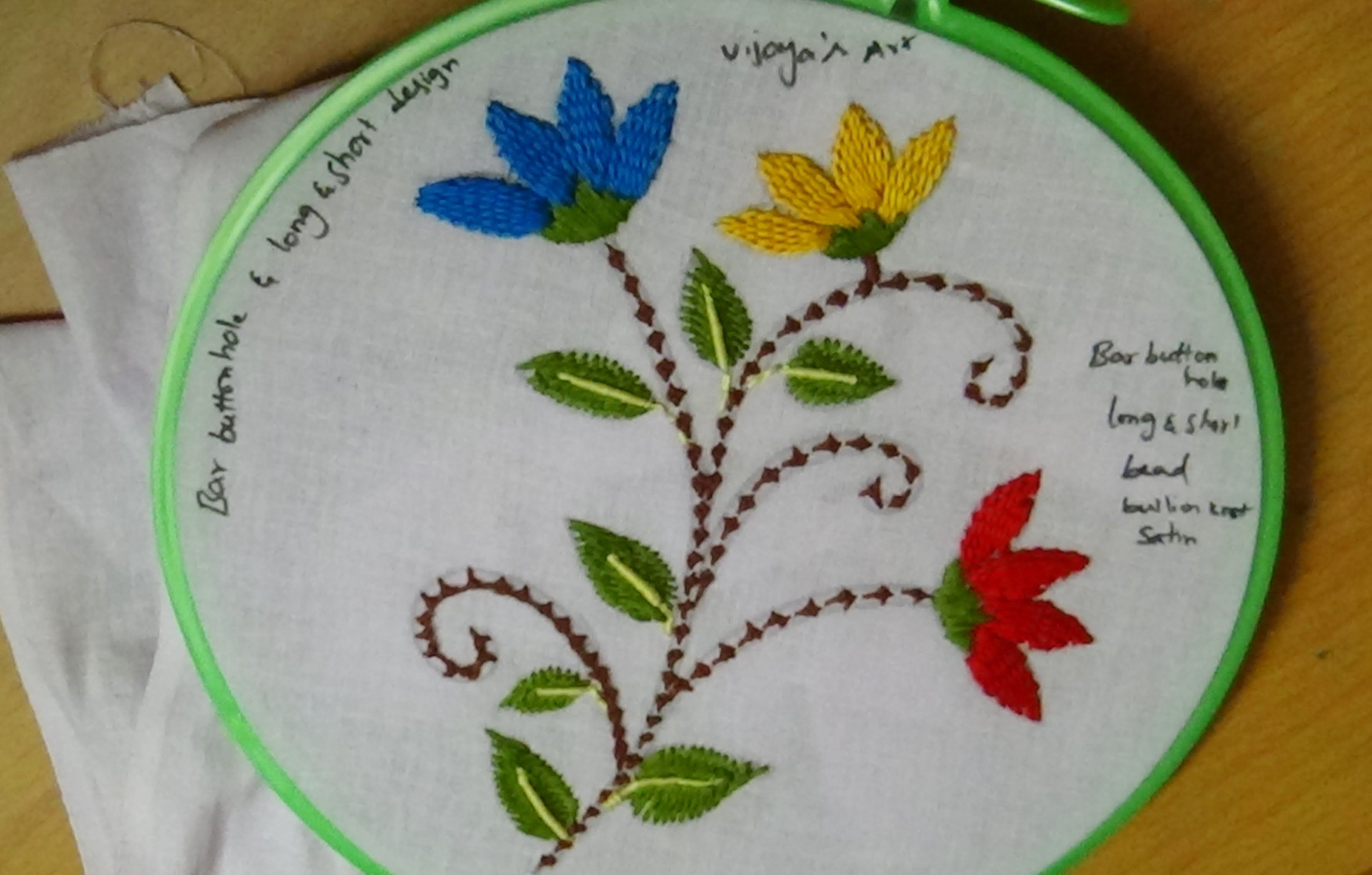 Hand embroidery designs bar buttonhole long