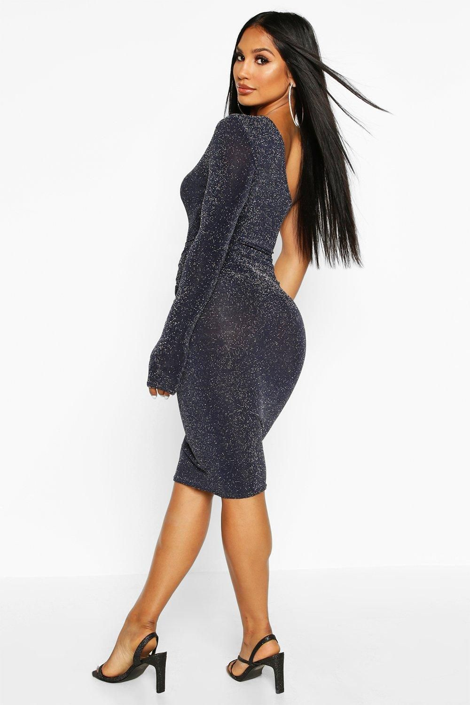 One Shoulder Glitter Midi Dress Boohoo Photoshoot Outfits Dresses Blue Long Sleeve Dress