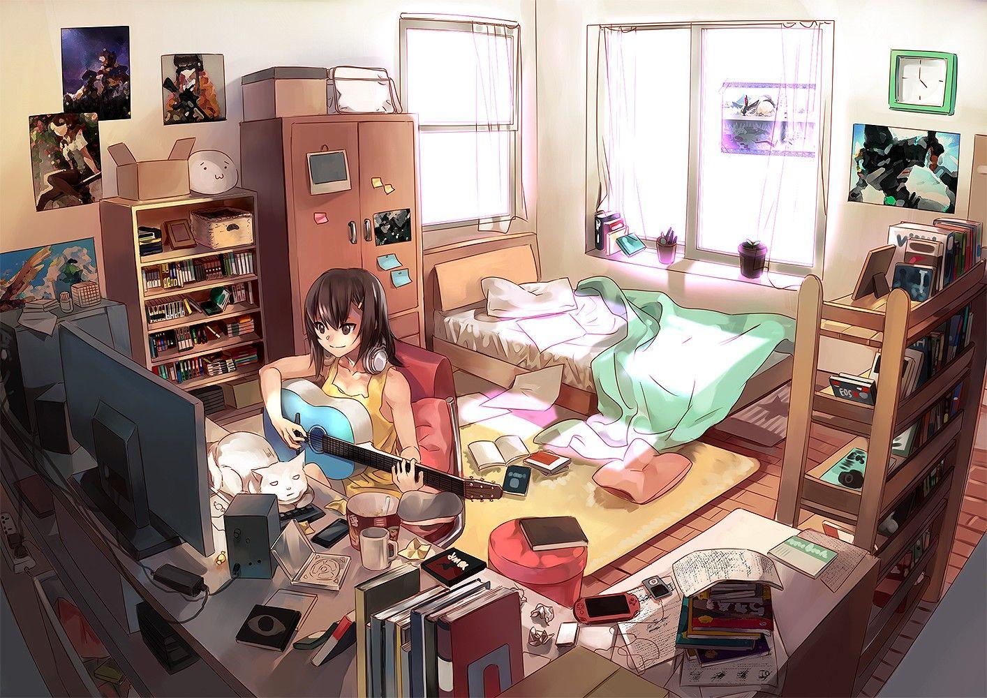 Girl Playing Guitar Wallpaper 1414x1000 Id 42466 Otaku Room Bedroom Drawing Anime Backgrounds Wallpapers