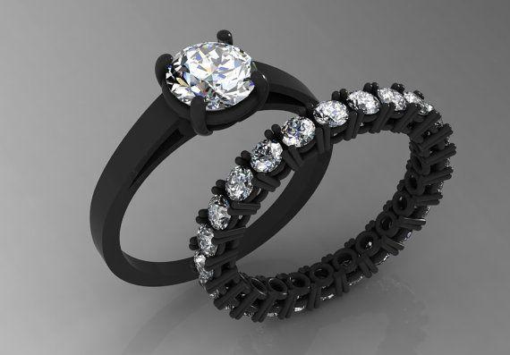 14k Black Gold Elegant Engagement Or Wedding Ring For Women Etsy Black Gold Ring Black Gold Engagement Rings Black Wedding Rings