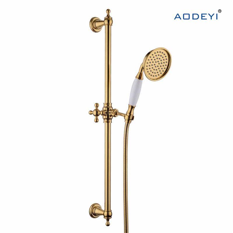 Gold Brass Shower Slide Bar Handheld Shower Head 150cm Hose Handheld Shower Bracket Height And Angle Adjustab Shower Bracket Brass Shower Bathroom Fixtures Gold hand held shower head