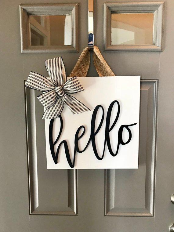 Front Door Sign Wood Door Hanger Door Decoration Front Door Decor Square Sign Black And White Decor Door Sign Hello Door Sign Diy Decor Decor Home Diy