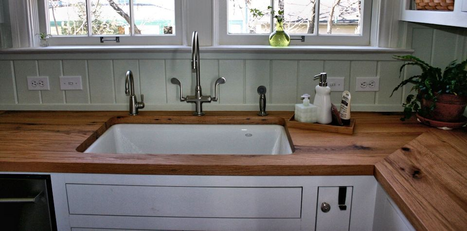 Elegant Custom Reclaimed White Oak Wood Countertops With Mitre Joint And Undermount  Sink