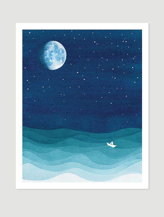 Moon Phase Print Watercolor Painting Bedroom Art Stars Sailboat