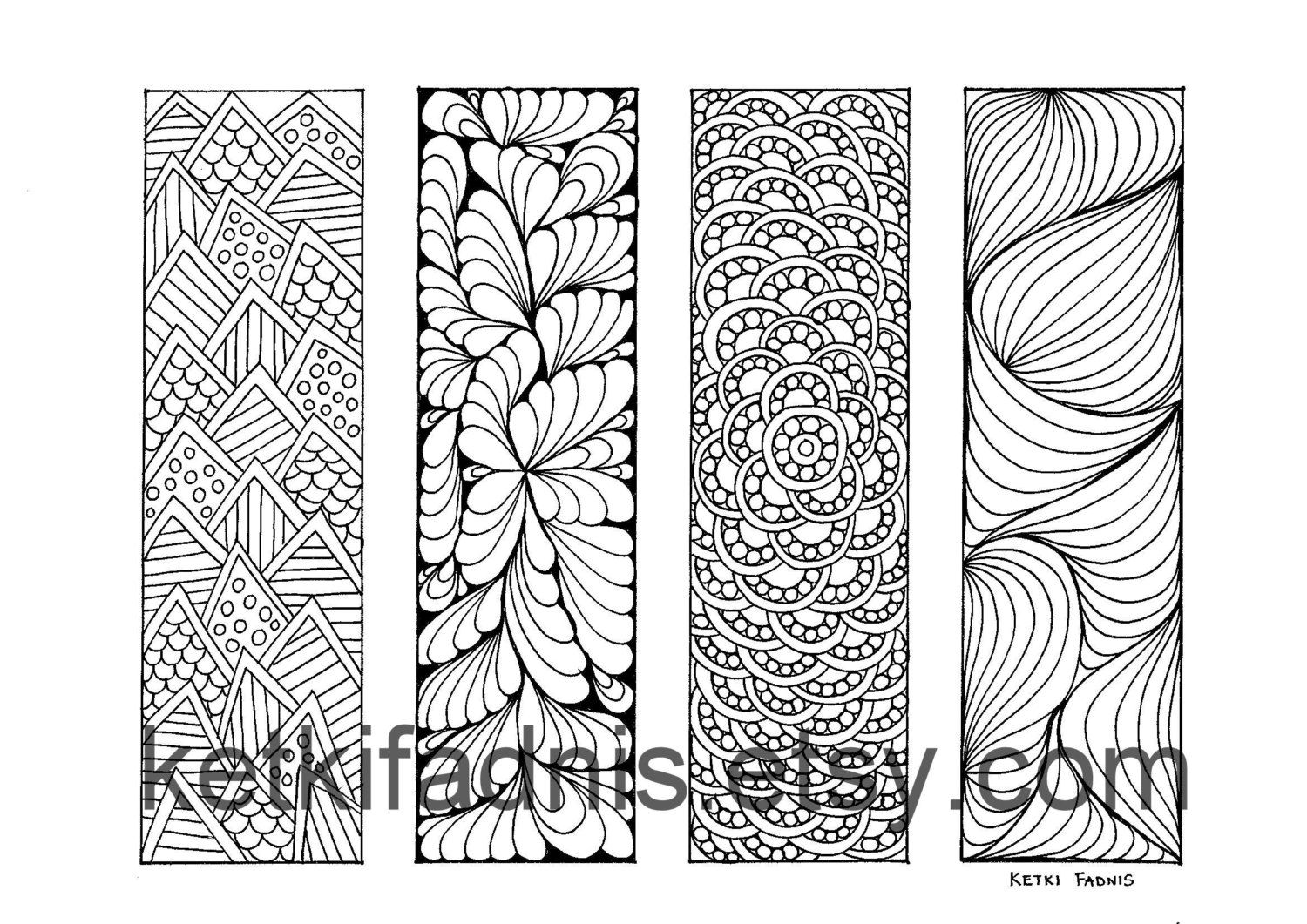Coloring bookmarks patterns bookmarks coloring page