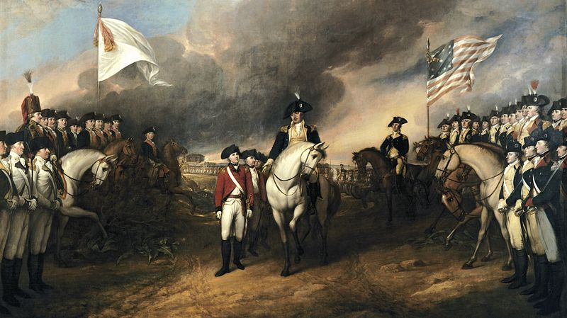 Surrender of the British to George Washington at Yorktown, Va. (19 October 1781). File:Surrender of Lord Cornwallis (cropped).