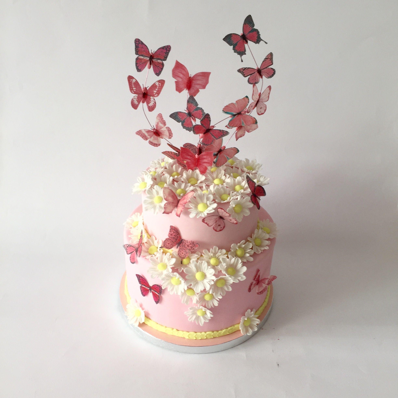 Torta comunione con farfalle in wafer paper e margherite for Farfalle decorative per muri