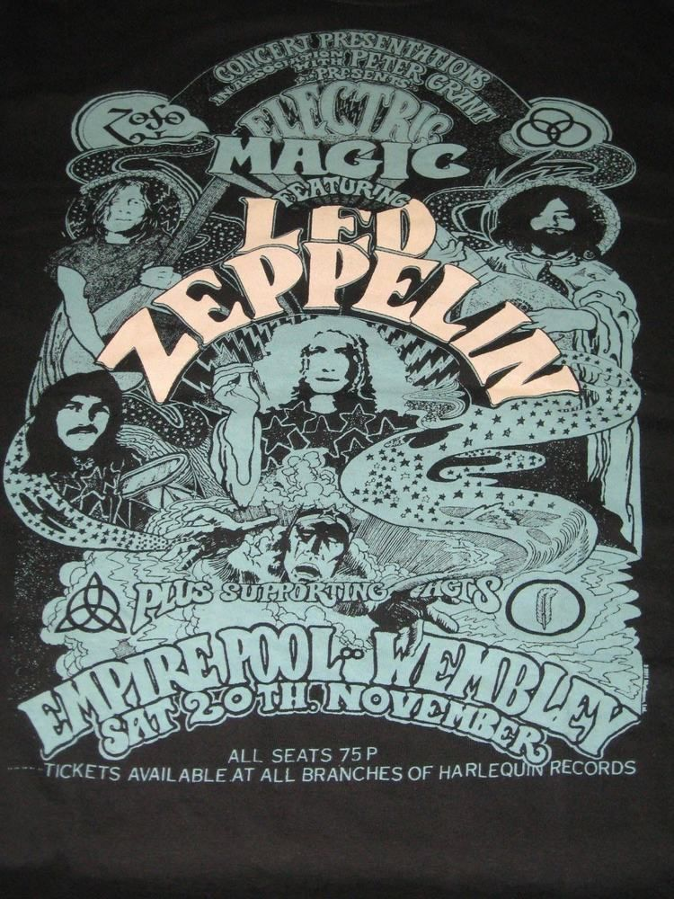 bbc18b46d66 Mens Led Zeppelin Electric Magic Black Wembley Concert Tshirt XL Full  Graphics  Gildan  tshirt