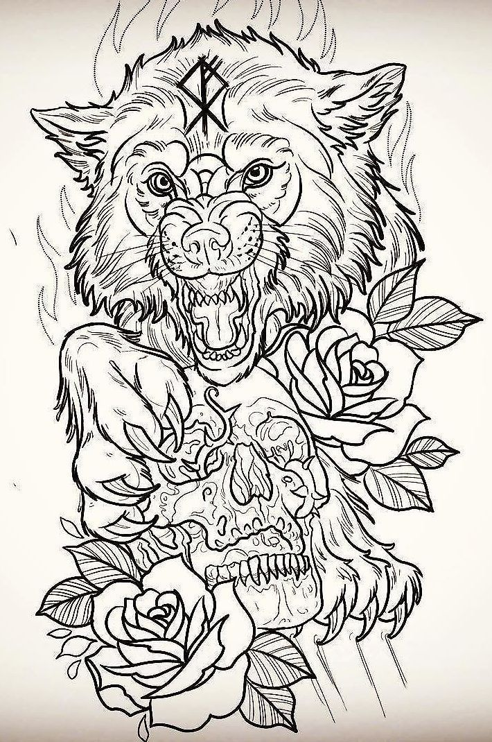 Line Art Wolf Tattoo: Эскиз волка, Татуировки с животными