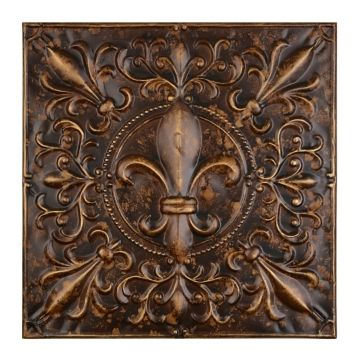 Embossed Tiles Wall Decor Embossed Bronze Fleurdelis Metal Tile  Walls Bedrooms And House