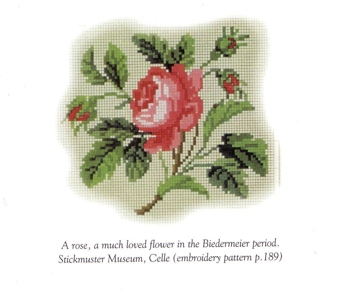 Схема вышивки старинной розы