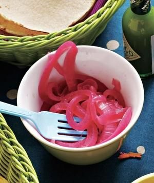 Quick Pickled Red Onions   Tangy onions add a beautiful hit of color and a…