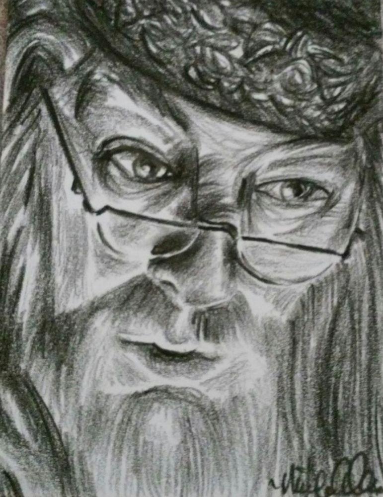 Aceo original 1 1 drawing sketch charcoal pencil harry potter albus dumbledore