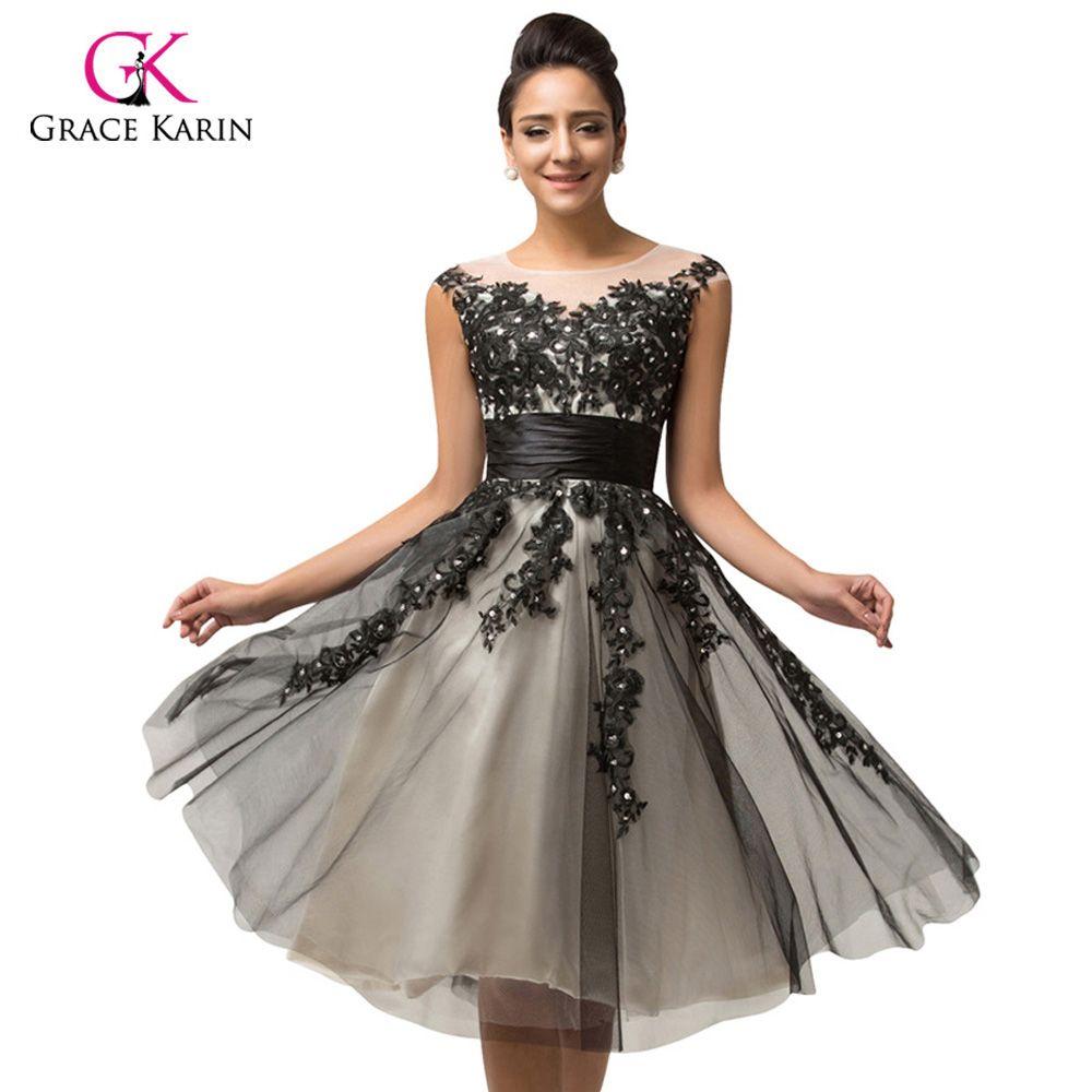 Luxury sheer short black lace robe de cocktail party dresses